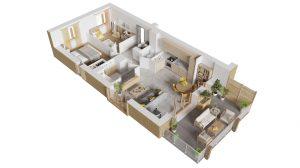 Plan axonométrique d'un appartement neuf 3 pièces à Ambarès et Lagrave