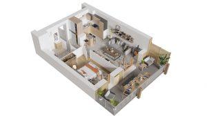 Plan axonométrique d'un appartement neuf 2 pièces à Ambarès et Lagrave